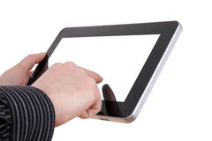 Hand holding a touchpad pc Royalty Free Stock Photos