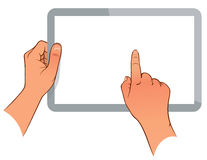 Hand holding a touchpad pc Royalty Free Stock Images