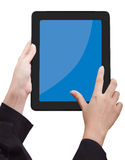 Hand holding Touchpad PC (Tablet PC). New technology royalty free stock photos