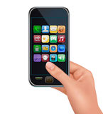 A hand holding touchscreen mobile phone with icons. Vector Royalty Free Stock Photography