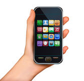 A hand holding touchscreen mobile phone with icons. Vector Stock Photo