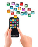 A hand holding touchscreen mobile phone with icons. Vector Stock Photography