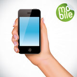 Hand Holding Touchscreen Mobile Phone Illustration Royalty Free Stock Photos