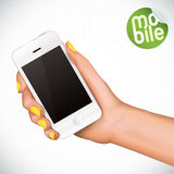 Hand Holding Touchscreen Mobile Phone Illustration Stock Photography