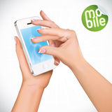 Hand Holding Touchscreen Mobile Phone Royalty Free Stock Photos