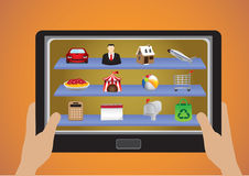 Hand Holding Touchscreen Tablet with App Icons Vector Illustrati Stock Photo