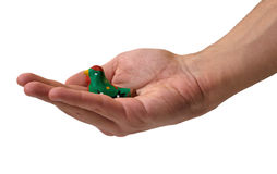 Hand holding a toy bird. Hand holding a colorful toy bird Royalty Free Stock Image