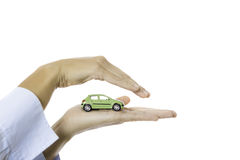 Hand holding a toy car Royalty Free Stock Photos