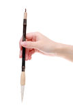 Hand holding traditional writing brush Stock Photos