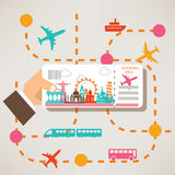 Hand holding travel ticket Royalty Free Stock Photography