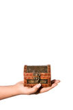 Hand holding a treasure chest. Hand holding a small treasure chest Stock Photo