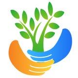 Hand holding tree logo Royalty Free Stock Photos