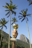 Hand Holding Trophy Rio de Janeiro Skyline Stock Images