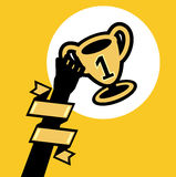 Hand holding trophy; winner trophy with first prize concept. Flat design Royalty Free Stock Image