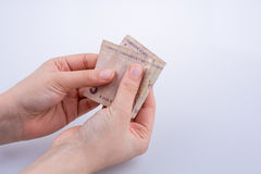 Hand holding 5 Turksh Lira banknote  in hand Stock Photography