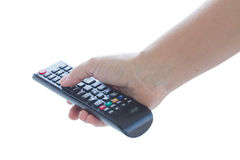 Hand holding TV remote control Stock Photography
