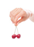 Hand holding  two cherries on white background Stock Photography