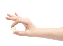 Hand holding two euro coin Stock Photography