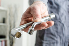 Hand holding a two socket wrenches Royalty Free Stock Photo