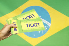 Hand Holding Two Tickets Brazilian Flag Royalty Free Stock Photography