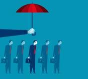 Hand holding umbrella above businessman Stock Images
