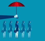 Hand holding umbrella above businesswoman. Concept business illustration. Vector flat Royalty Free Stock Images