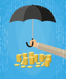 Hand holding umbrella to protect money. Hand holding umbrella under rain to protect money. money protection, financial savings concpet. vector illustration in Royalty Free Stock Image
