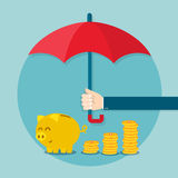 Hand holding umbrella to protect money. Vector illustration for financial savings concept Royalty Free Stock Photo