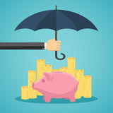 Hand holding umbrella to protect money. Royalty Free Stock Image