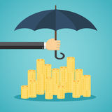 Hand holding umbrella to protect money. Vector illustration for financial savings concept Royalty Free Stock Photos