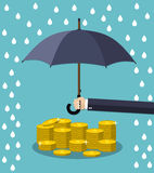 Hand holding umbrella under rain. To protect money. money protection, financial savings concpet. vector illustration in flat style Royalty Free Stock Photography