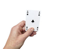 Hand holding up ace clubs  on white Royalty Free Stock Image