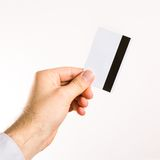 Hand holding up a credit card Royalty Free Stock Photography
