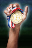 Hand holding up a gold medal. As a winner in a competition Stock Image