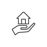 Hand holding up house line icon, outline vector sign, linear style pictogram isolated on white. Mortgage symbol, logo illustration. Editable stroke. Pixel stock illustration