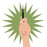 Hand holding up pen Royalty Free Stock Photography
