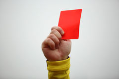 Hand holding up red card royalty free stock photos