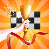 Hand Holding Up Trophy. Vector Winner Cup Illustration with Red Ribbon and Checkered Flag Stock Photos