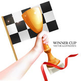 Hand Holding Up Trophy. Vector Winner Cup Illustration with Red Ribbon and Checkered Flag. White Background Royalty Free Stock Photography