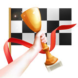 Hand Holding Up Trophy. Vector Winner Cup Illustration with Red Ribbon and Checkered Flag. White Background Stock Images