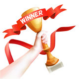 Hand Holding Up Trophy. Vector Winner Cup Illustration with Red Winner Ribbon. White Background Royalty Free Stock Photos