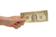 Hand holding a us dollar Royalty Free Stock Images