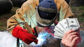 Pipeline Welder Salaries As A Concept Royalty Free Stock Photo