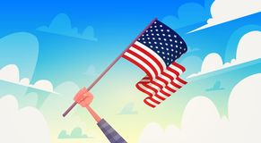 Hand Holding USA Flag Over Blue Sky National Patriot Day United States Holiday Banner. Flat Vector Illustration Stock Photography