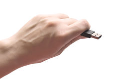 Hand holding usb device Royalty Free Stock Photo
