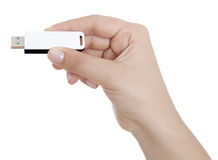 Hand holding USB key storage Royalty Free Stock Photos