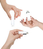 Hand holding USB key storage Stock Photos