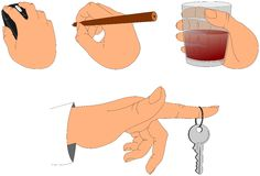 Hand holding various objects Stock Photography