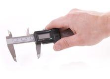 Hand holding venier. Hand holding vernier for measurment on white background Stock Photo