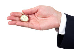 Hand holding a vintage pocket watch Stock Images